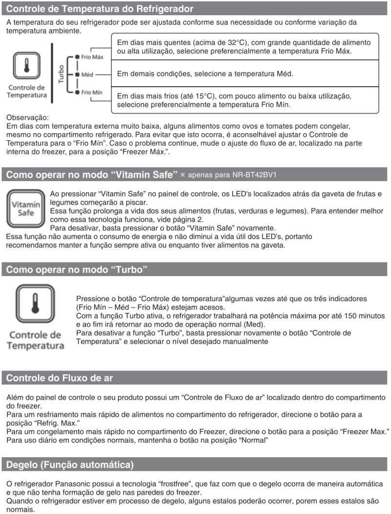 Geladeira Panasonic - como usar - ajuste temperatura - NR-BT40