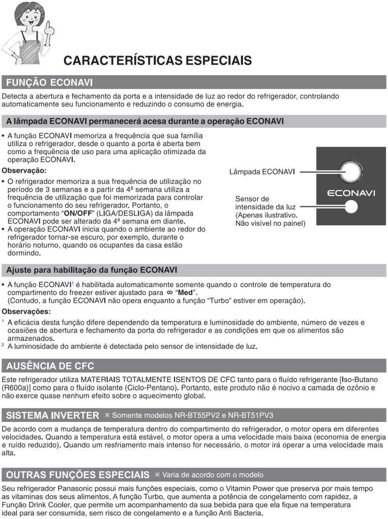 Características especiais - Geladeira Panasonic - NR-BT51