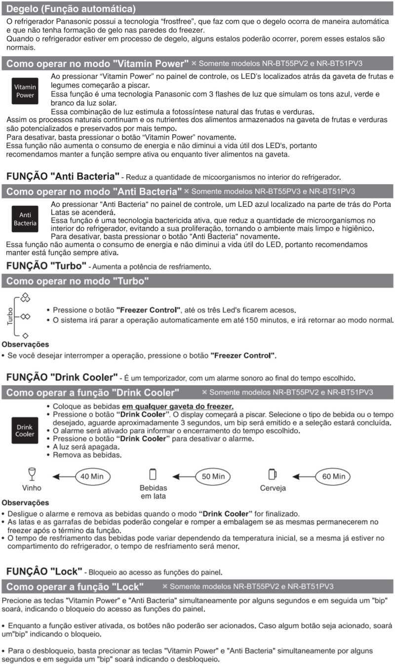 Geladeira Panasonic - como usar - funções - NR-BT50