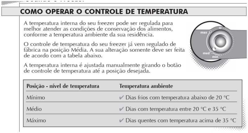 Freezer Consul - ajustando temperatura - CVU30
