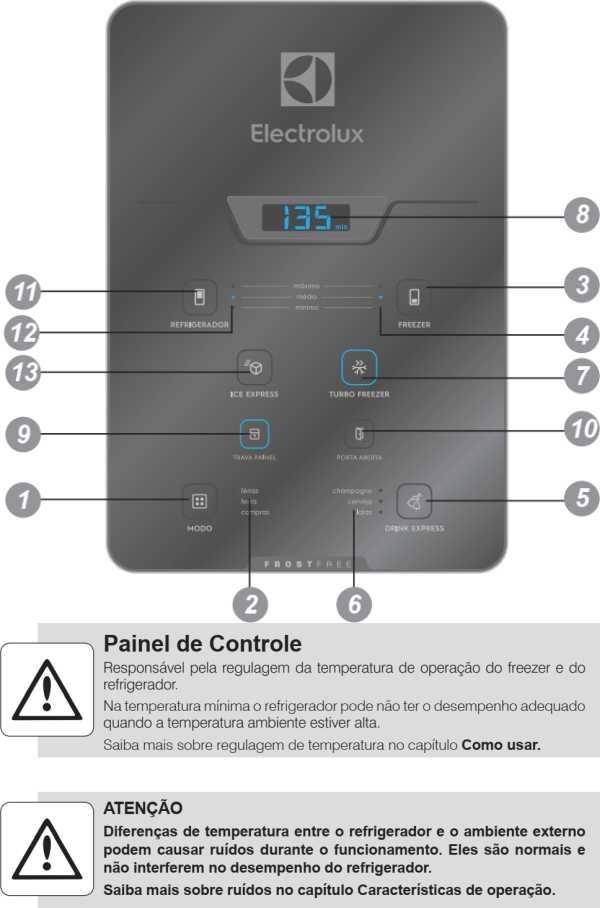 Geladeira Electrolux - conhecendo os componentes - painel de controle - DB84