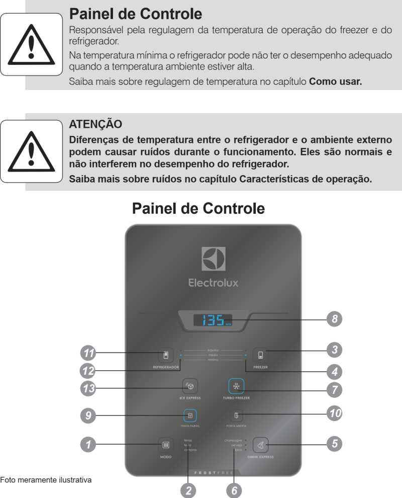 Geladeira Electrolux - conhecendo os componentes - painel de controle - DM84X