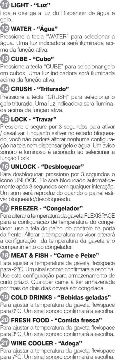 Geladeira Electrolux - conhecendo os componentes - painel de controle - funções DM91X