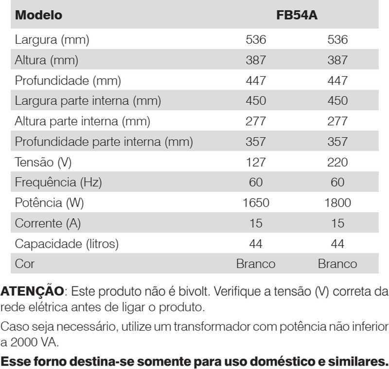 Forno elétrico Electrolux - conhecendo especificações técnica - FB54A