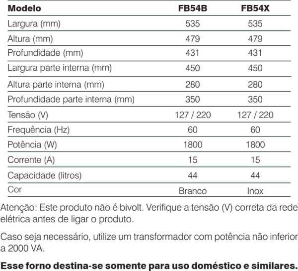 Forno elétrico Electrolux - conhecendo especificações técnica - FB54B