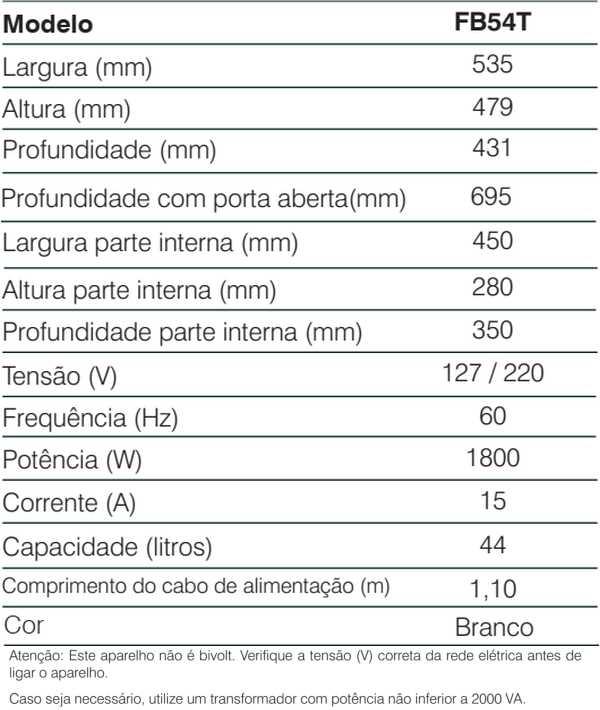 Forno elétrico Electrolux - conhecendo especificações técnica - FB54T