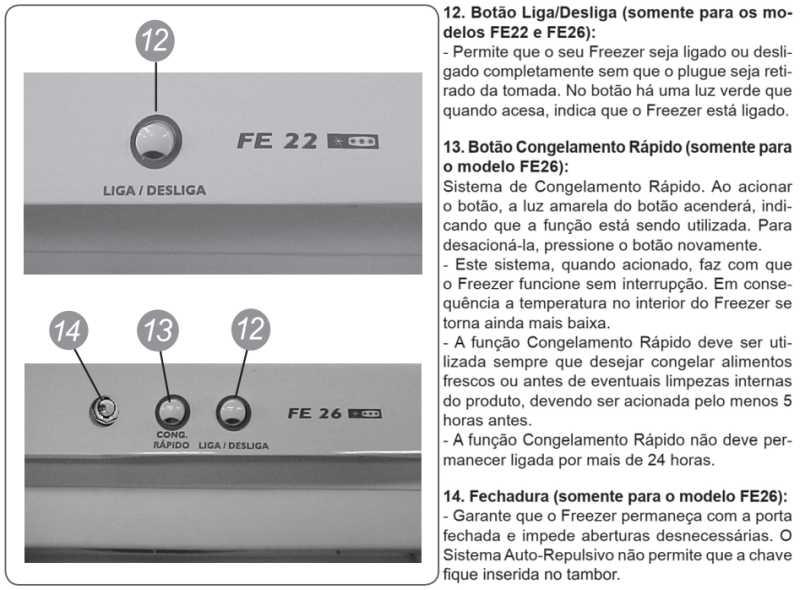 Freezer Electrolux - conhecendo o painel de comando - FE22