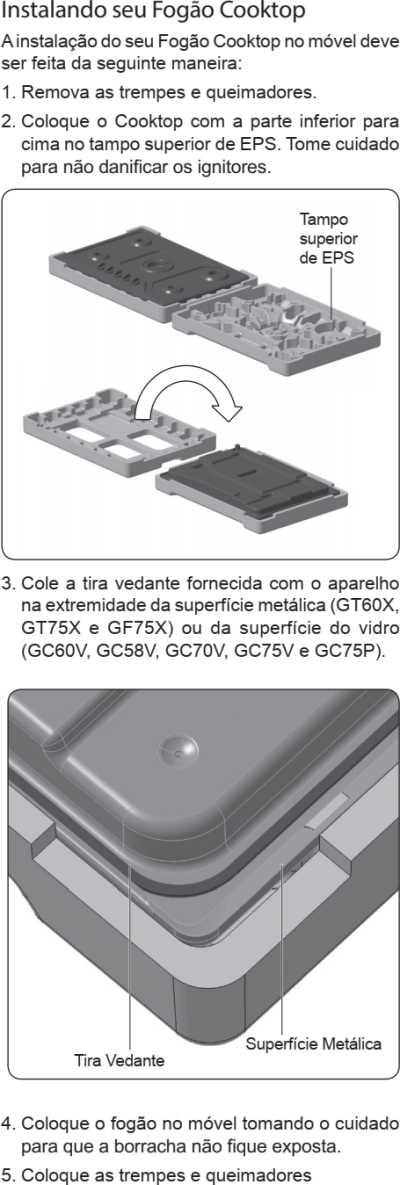 Cooktop a gás Electrolux - instalando o produto - GF75X