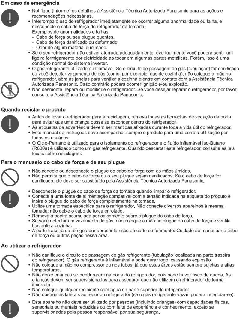 Geladeira Panasonic - instruções de segurança