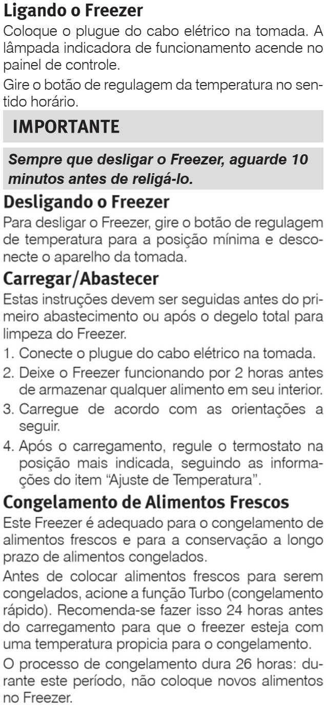 Freezer Electrolux - ajustando a temperatura - H162