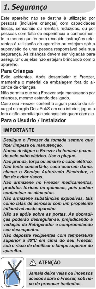 Freezer Electrolux - instruções de segurança