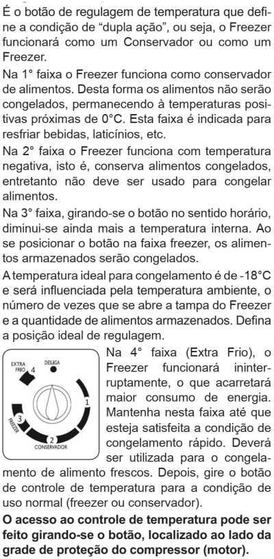 Freezer Electrolux - ajustando a temperatura - H400