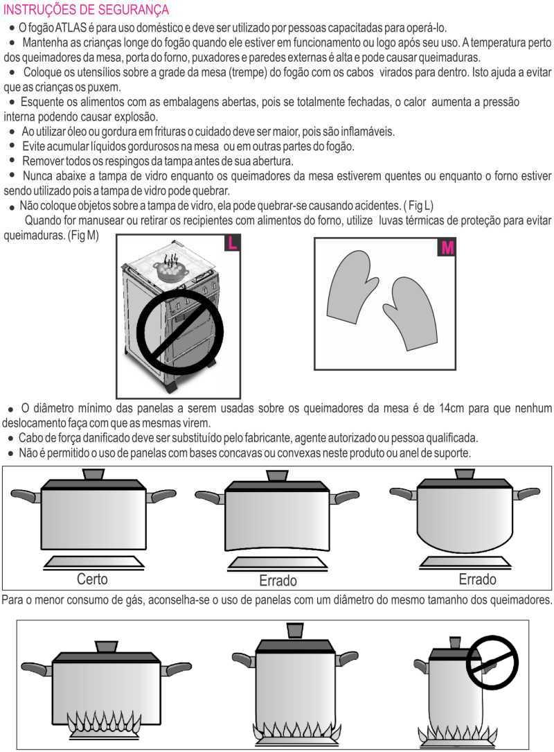 Fogão a gás Atlas Fastcook - instruções de segurança