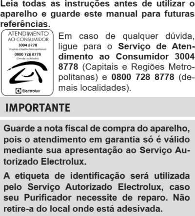 Purificador de água Electrolux - instruções de segurança