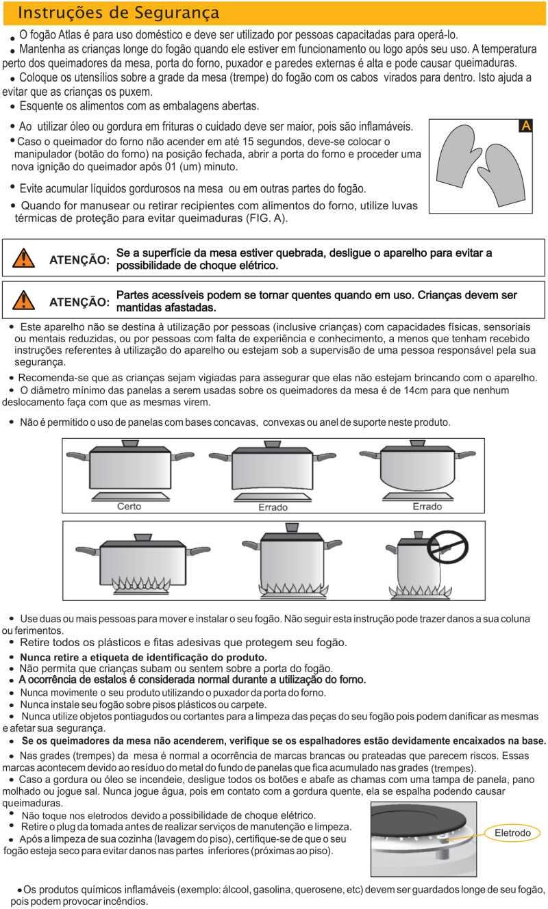 Fogão a gás Atlas Top Glass - instruções de segurança