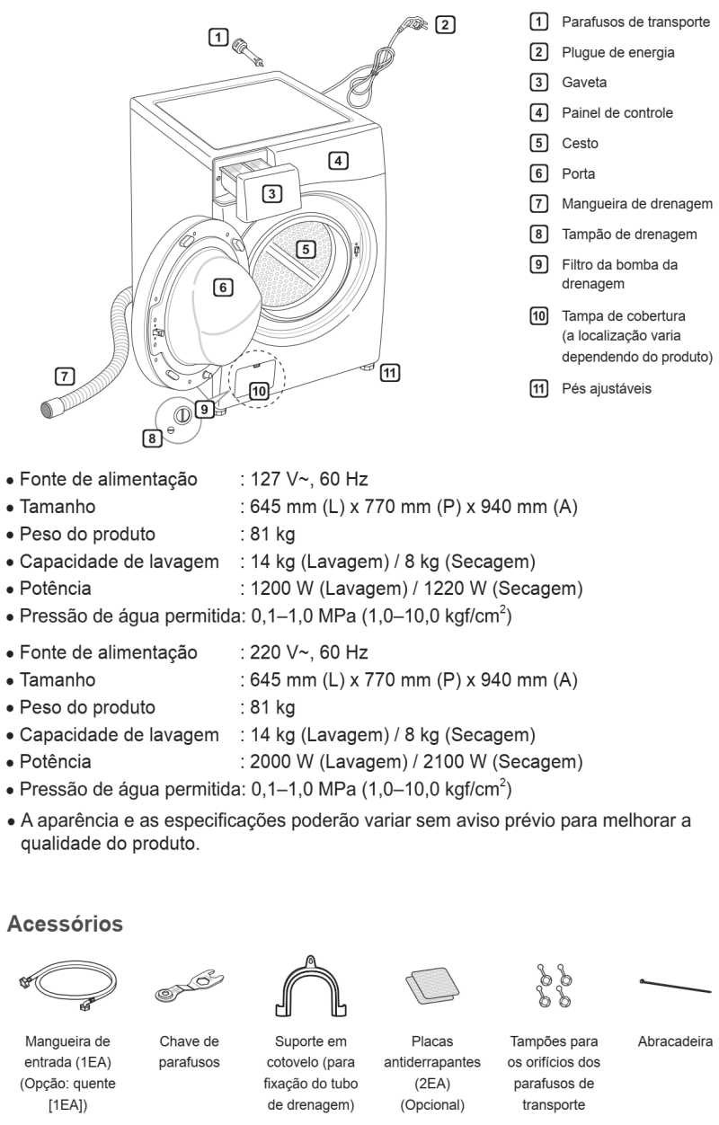 Lava e Seca LG 14 Kg Com Steam e SmartThinQ - WD1014R - conhecendo produto