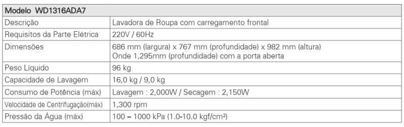 Lava e Seca LG 16 Kg - WD1316 - conhecendo produto - as especificações técnica