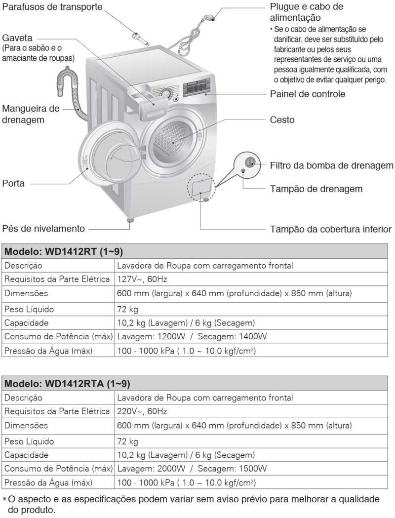 Lava e seca LG 10,2 Kg - WD1412RT - conhecendo produto - especificações técnica