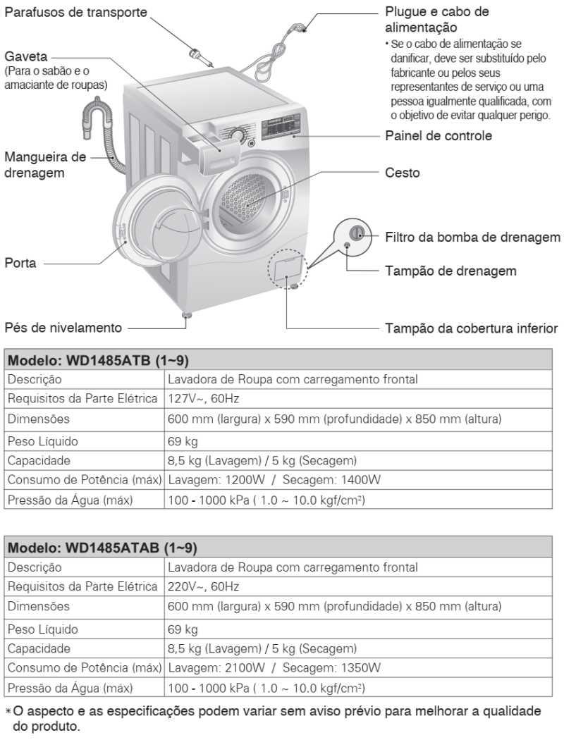 Lava e seca LG 8,5 Kg - WD1485 - conhecendo produto - especificações técnica