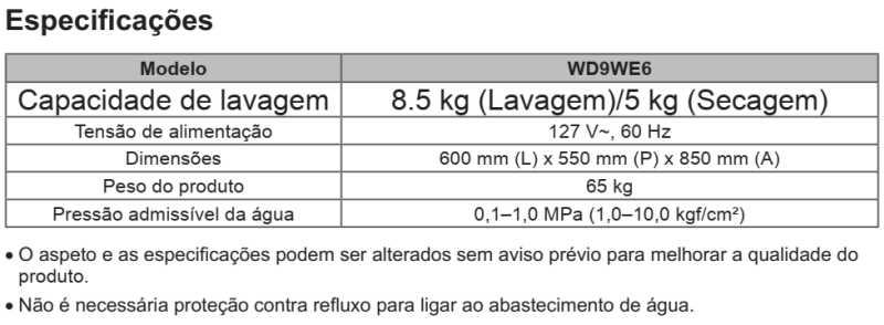 Lava e Seca LG 8,5 Kg - WD9WE6 - conhecendo produto - especificações técnica