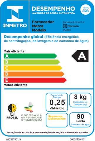 Lava e seca Electrolux - LSP08 - selo procel
