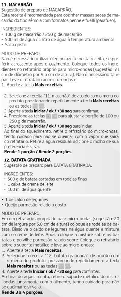 Microondas Brastemp - BMG45-  como usar receitas 10