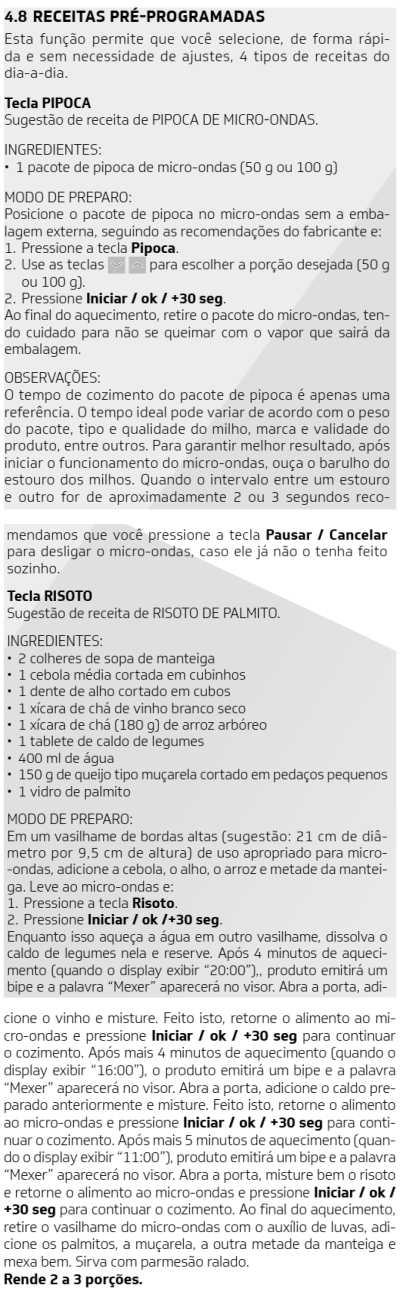 Microondas Brastemp - BMG45-  como usar receitas 3