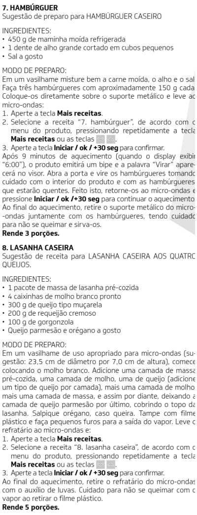Microondas Brastemp - BMG45-  como usar receitas 8