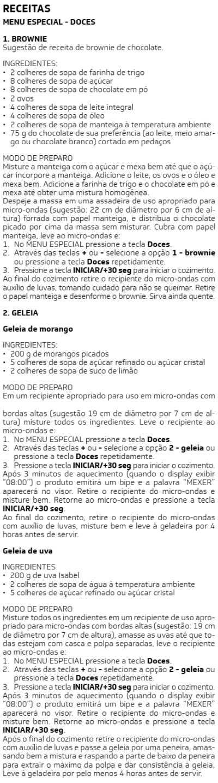 Microondas Brastemp - BMS20 -  receitas 1