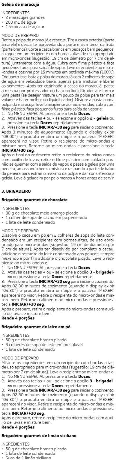 Microondas Brastemp - BMS20 -  receitas 2