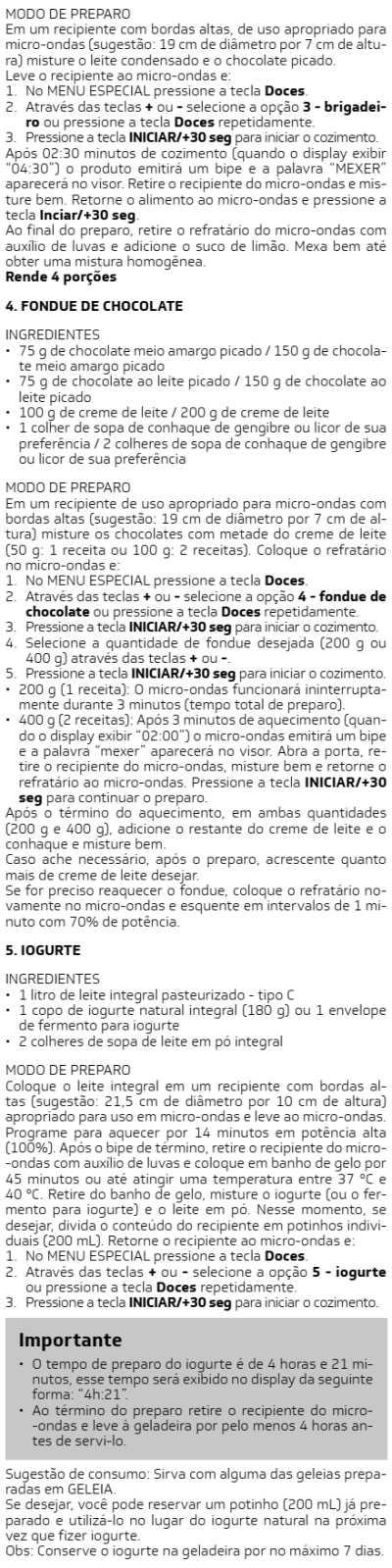 Microondas Brastemp - BMS20 -  receitas 3