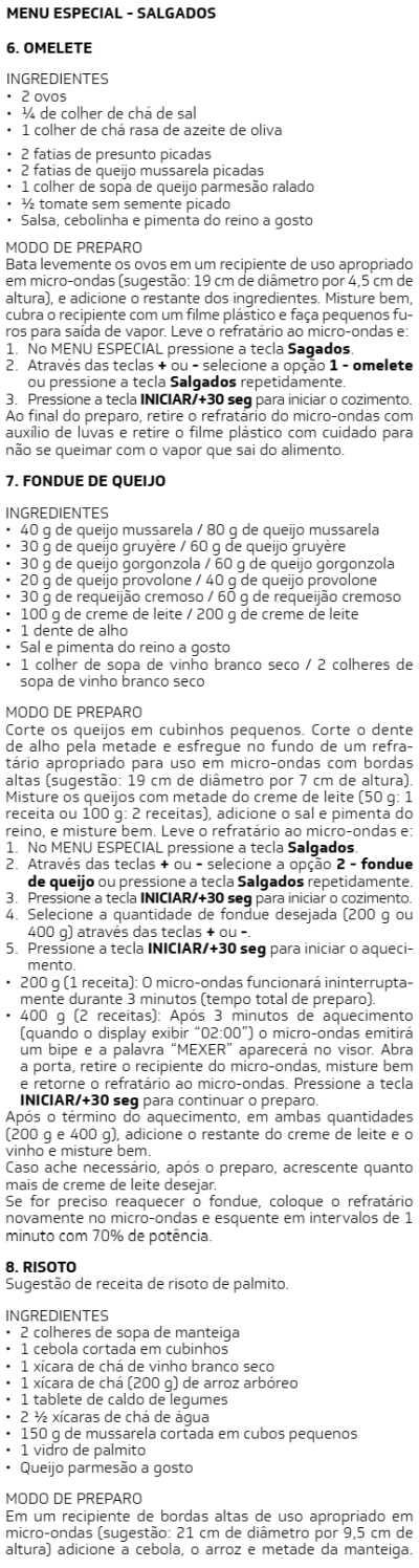 Microondas Brastemp - BMS20 -  receitas 4