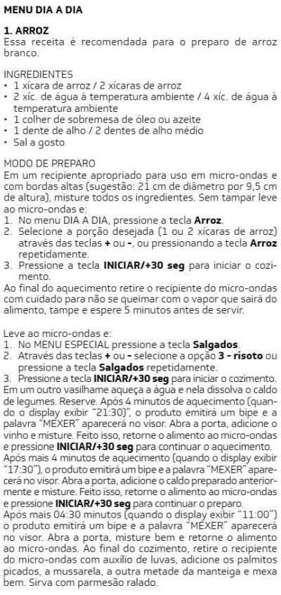 Microondas Brastemp - BMS20 -  receitas 5