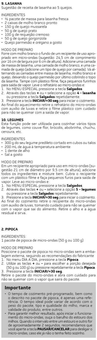 Microondas Brastemp - BMS20 -  receitas 6