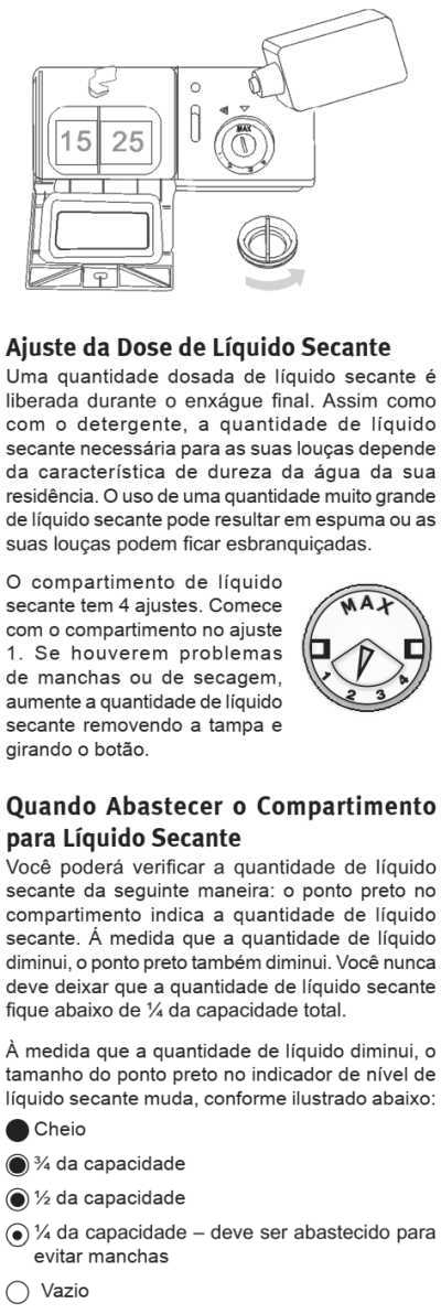 Lava louças Electrolux - LE06 - como usar - abastecendo liquido secante