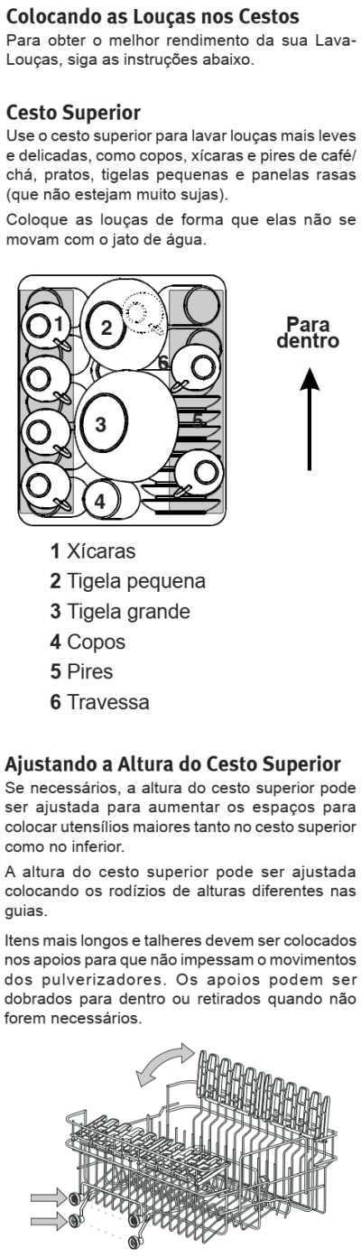 Lava louças Electrolux - LE09 - como usar - abastecendo cesto superior
