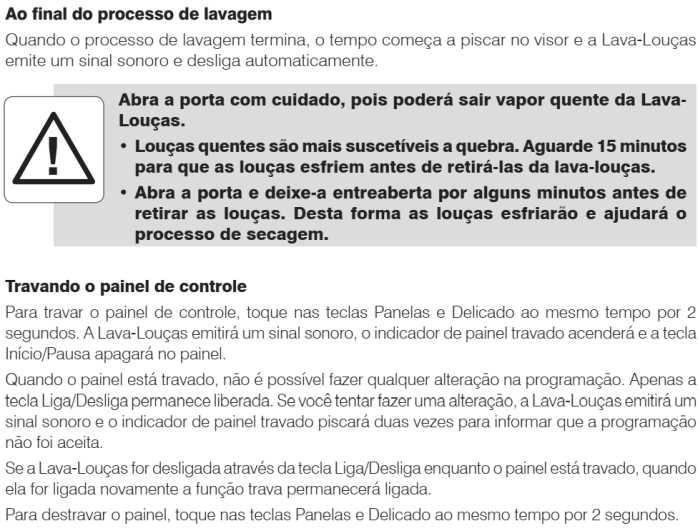 Lava louças Electrolux - LI10- como usar - finalizando o processo de lavagem
