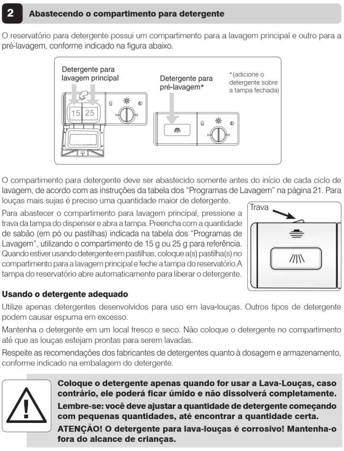 Lava louças Electrolux - LL08 - como usar - abastecendo o compartimento de detergente