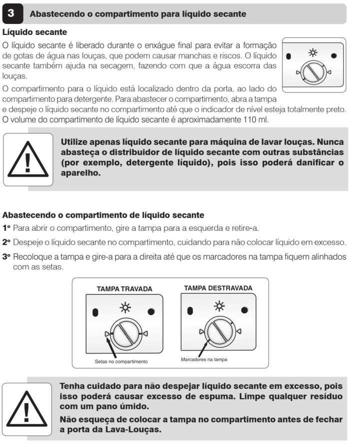 Lava louças Electrolux - LL08 - como usar - abastecendo o compartimento para líquido secante
