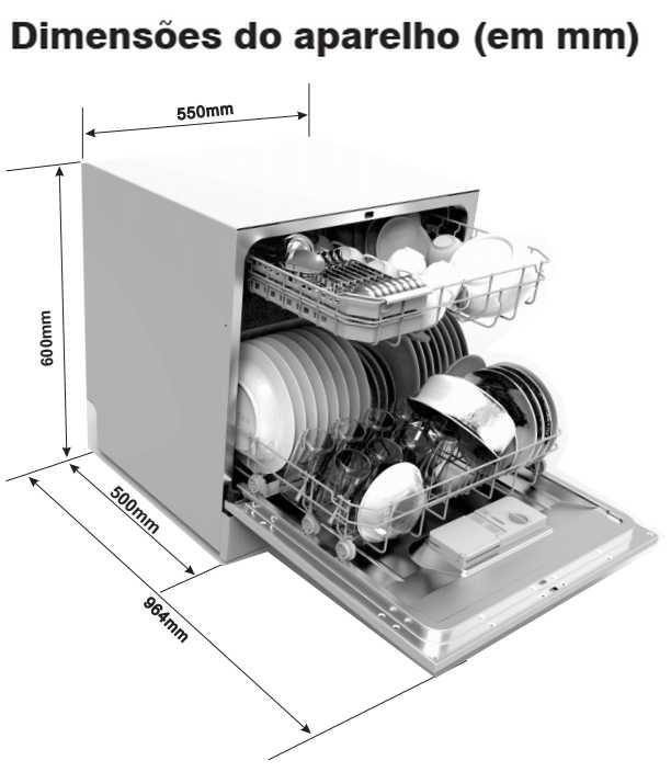 Medidas da lava louças Electrolux - LL08 - dimensões