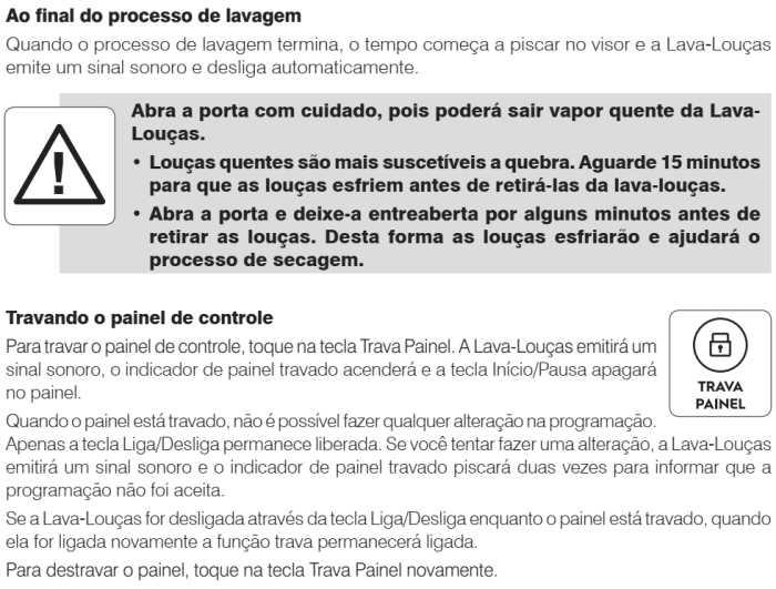 Lava louças Electrolux - LF14X - como usar - finalizando o processo de lavagem