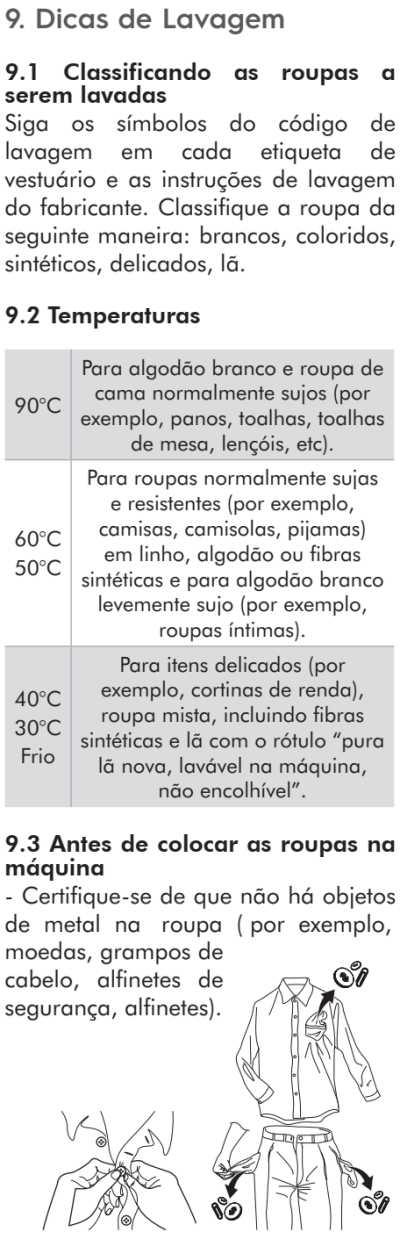 Lava e seca Electrolux - LSP11  - dicas de uso 1