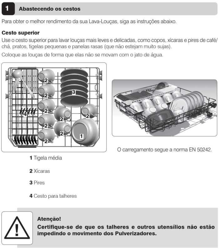 Lava louças Electrolux - LV08 - como usar - abastecendo cesto superior