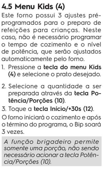 Microondas Electrolux MB41G - menu kids