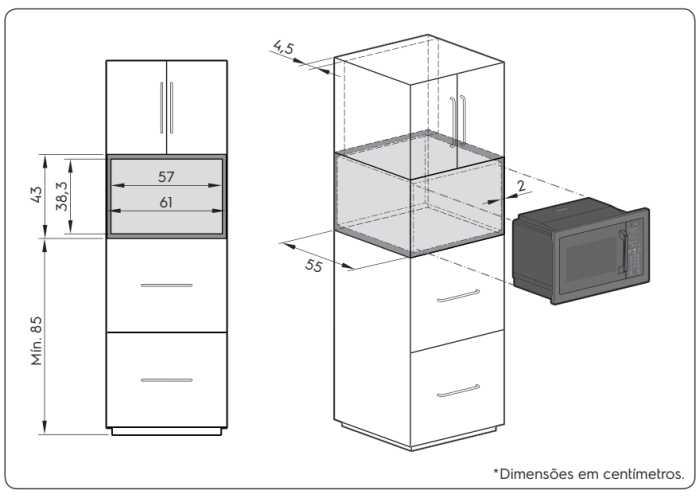 Nicho de Instalação do Microondas Electrolux - MV43T