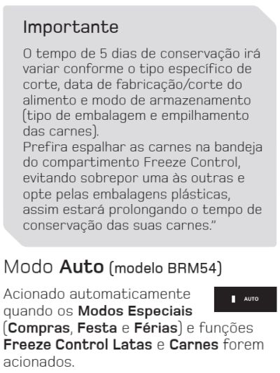 Geladeira Brastemp BRM45 - funções especiais - 4