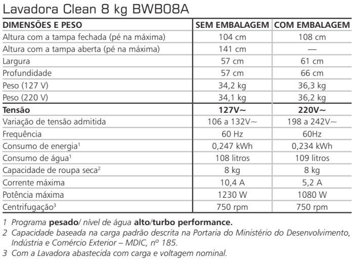Lavadora de roupas Brastemp - BWB08 - especificações técnica
