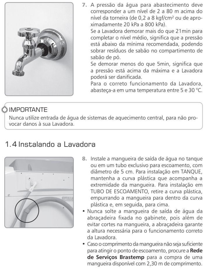 Lavadora de roupas Brastemp - BWR12 - como instalar 5