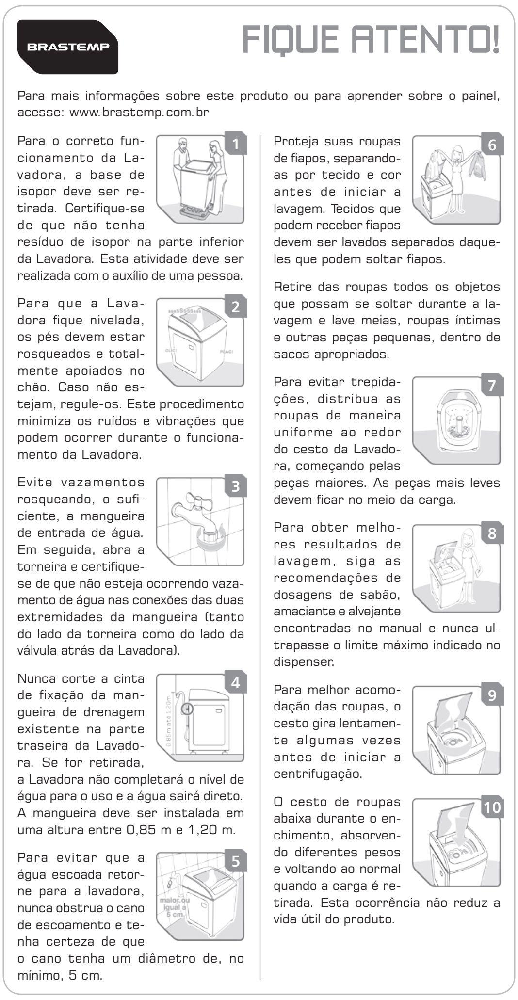 Lavadora de roupas Brastemp - dicas gerais