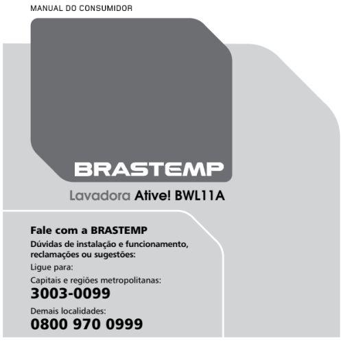 Lavadora de roupas Brastemp - capa manual